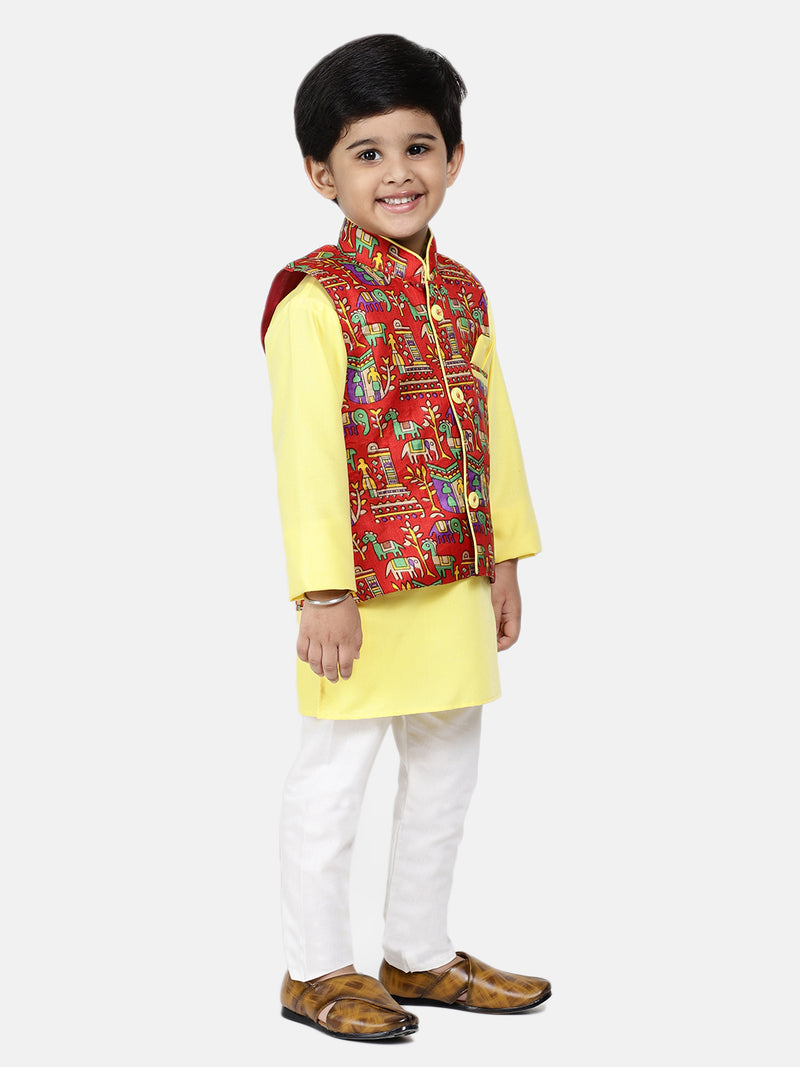 Bownbee Kurta Pajama with Village Art Waistcoat -Yellow