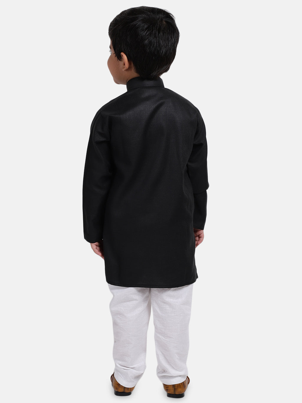 Stand Collar Cotton Kurta pajama-Black