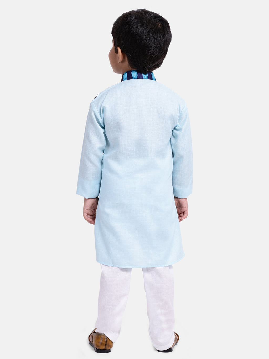 Attached Jacket Full Sleeve Kurta Pajama-Blue