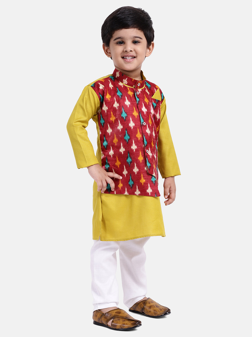 Attached Jacket Full Sleeve Kurta Pajama