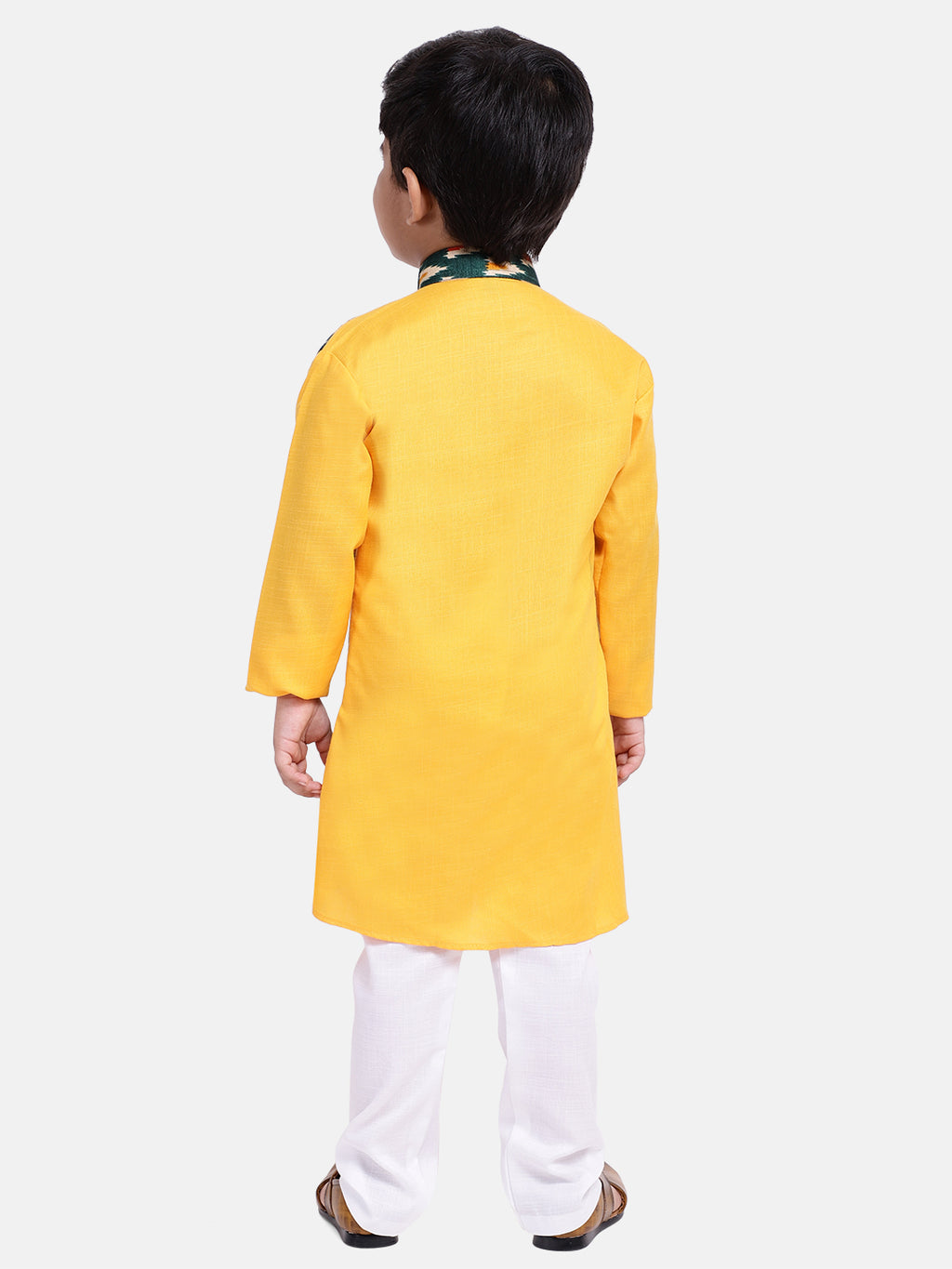Attached Jacket Full Sleeve Kurta Pajama-Yellow