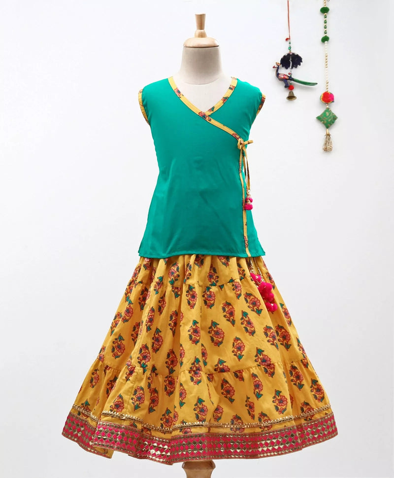 Sanganeri Print Cambric cotton Skirt  Top-Green