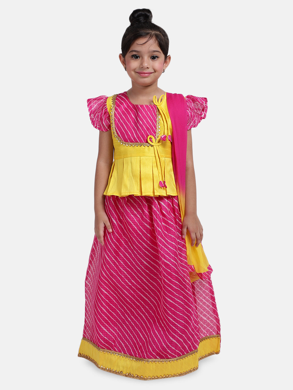 Ruffle Sleeve Choli with Leheria Lehenga-Pink