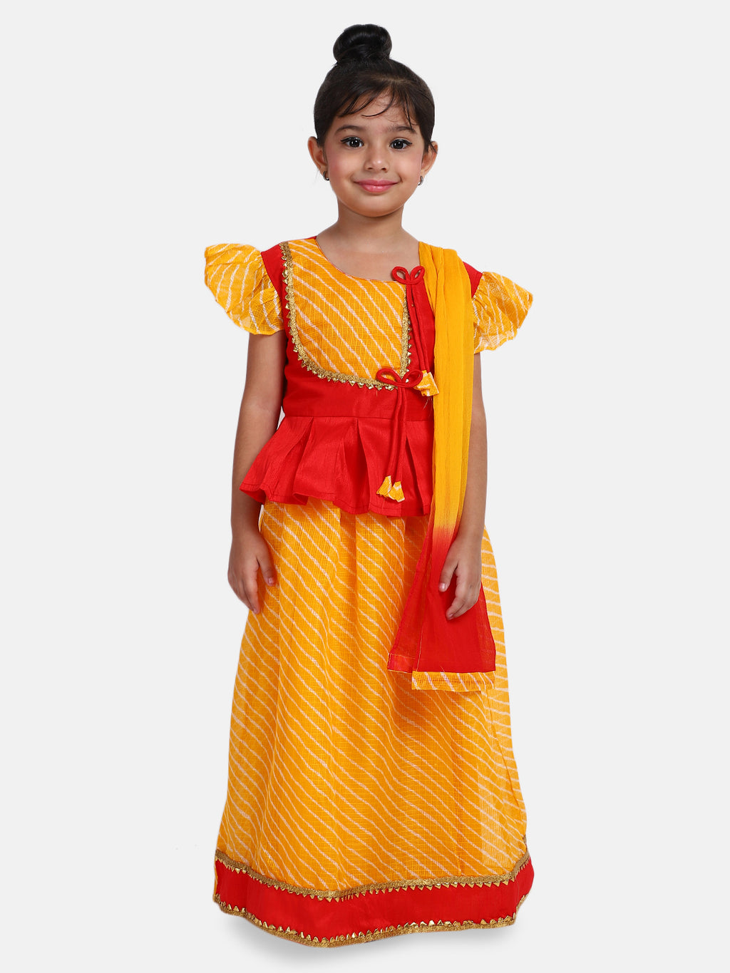 Ruffle Sleeve Choli with Leheria Lehenga-Yellow