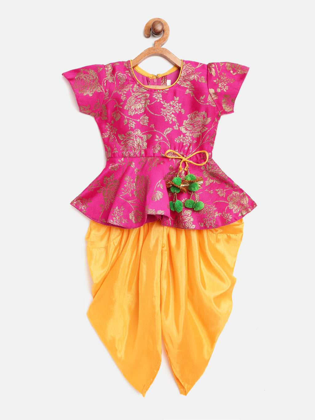 Rose Jacquard Peplum With Dhoti For Baby Girl-Pink