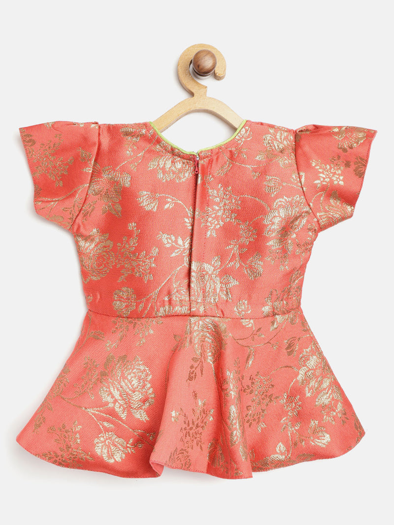 Rose Jacquard Peplum With Dhoti For Baby Girl-Red