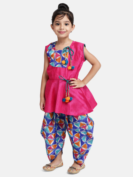 Triangle Print Patch Peplum Sleeveless Kurta & Dhoti Set