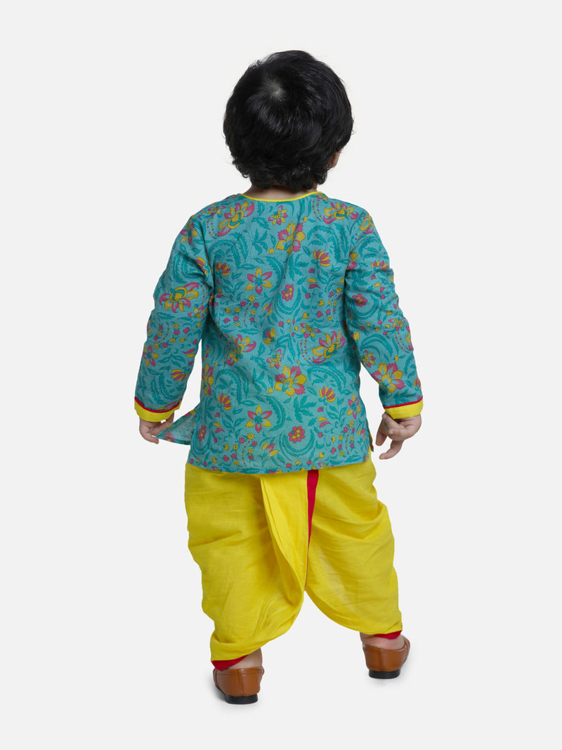 BownBee Front Open Full Sleeve Infant Dhoti Kurta-Green