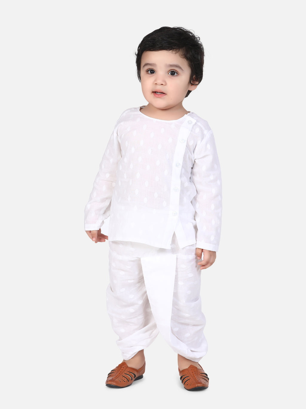 BownBee Front Open Full Sleeve Infant Dhoti Kurta-White