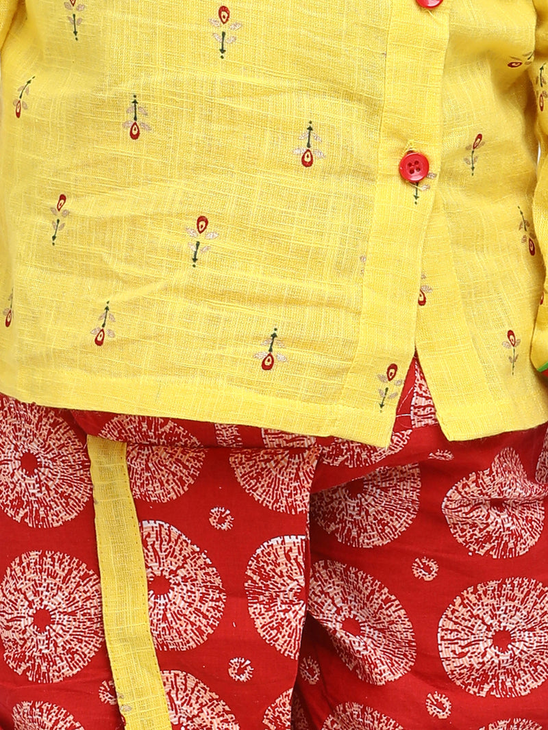 BownBee Front Open Full Sleeve Infant Dhoti Kurta-Yellow