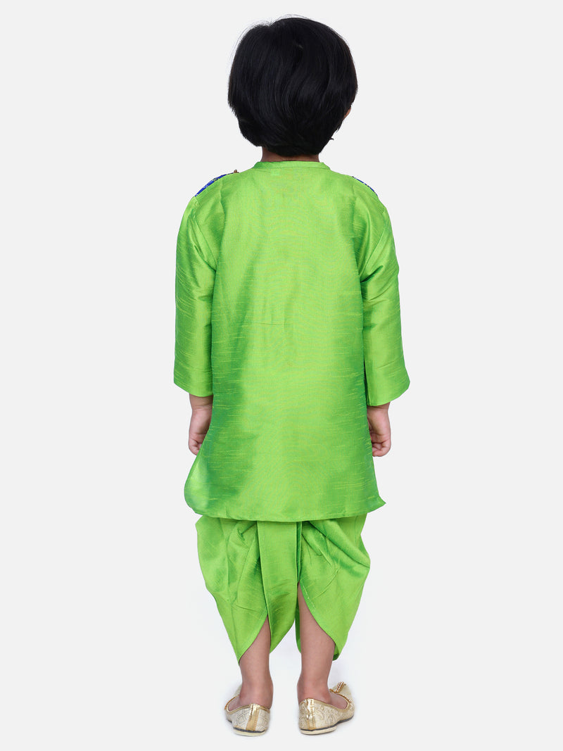 Attached Jacket Bandhani Dhoti Kurta- Green