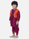 Attached Jacket Bandhani Dhoti Kurta- Purple