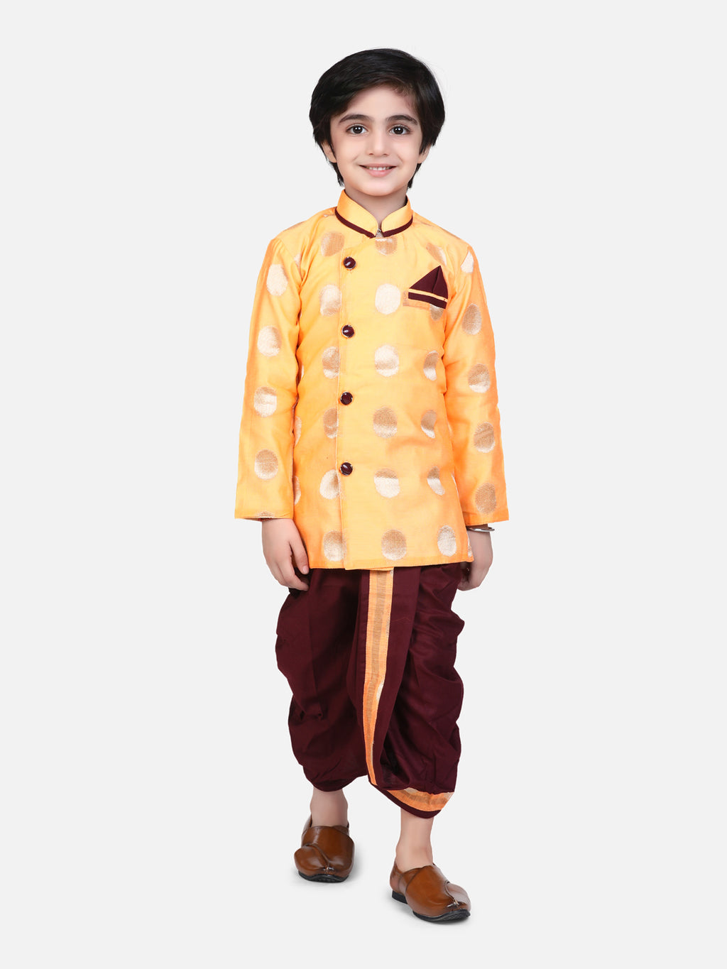 Chanderi Brocade Butti Work Full Sleeves Sherwani Style Kurta & Dhoti Set - Orange