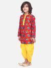 Printed Full Sleeve Cotton Kurta Dhoti- Red