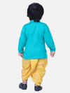 Front Open Cotton Full Sleeve Kurta with Dhoti-Green