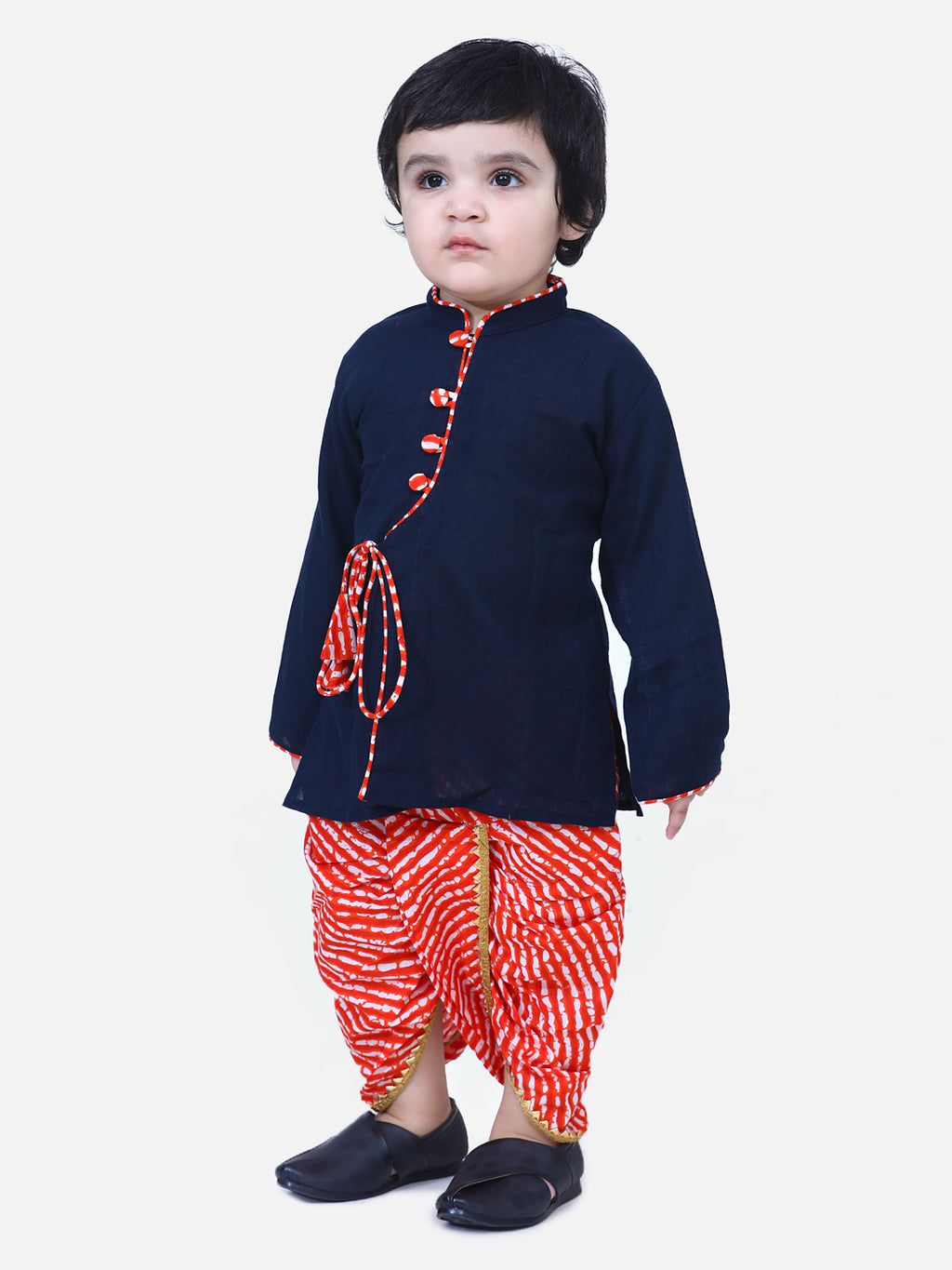 Front Open Cotton Full Sleeve Kurta with Dhoti-Navy Blue