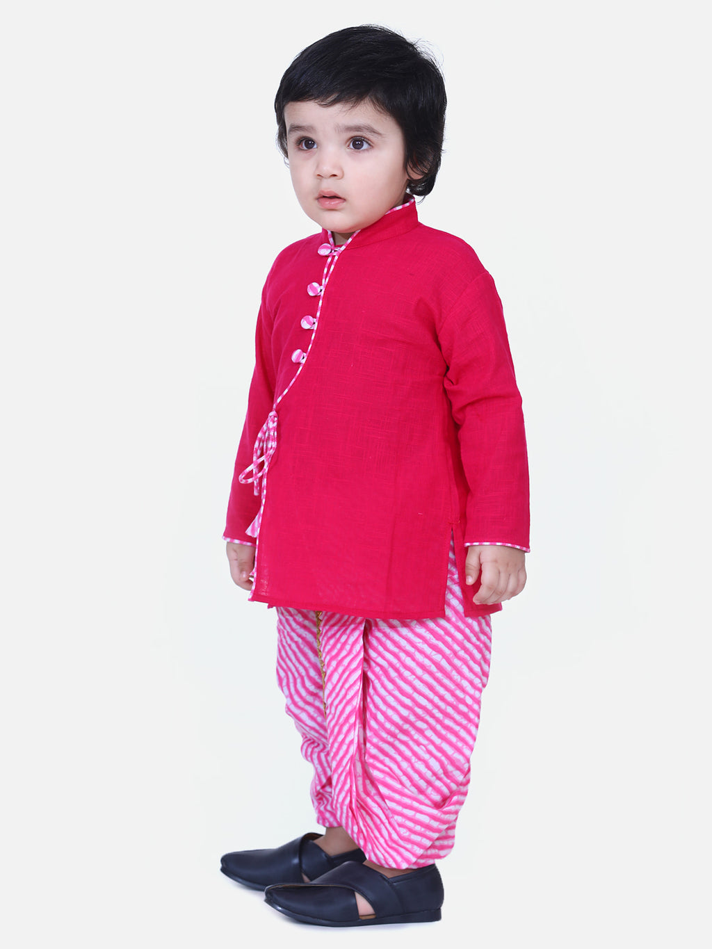 Front Open Cotton Full Sleeve Kurta with Dhoti-Pink