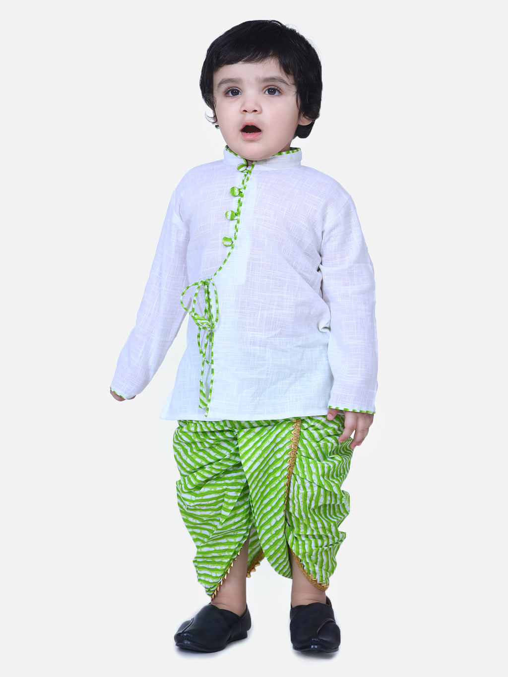 Front Open Cotton Full Sleeve Kurta with Dhoti- White