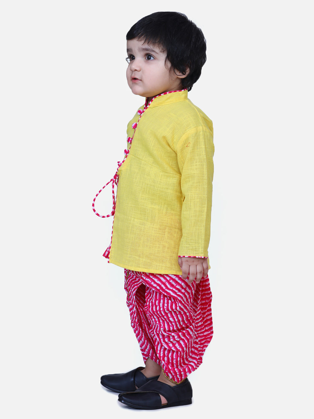 Front Open Cotton Full Sleeve Kurta with Dhoti-Yellow