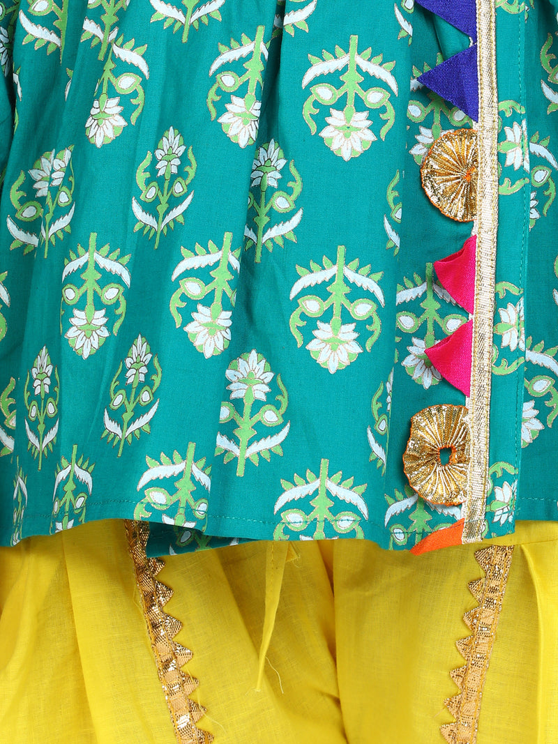 BownBee Block Print Cotton Full Sleeve Front Open Angrakha-Green