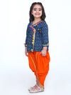 BownBee Block Print Cotton Full Sleeve Front Open Angrakha-Indigo