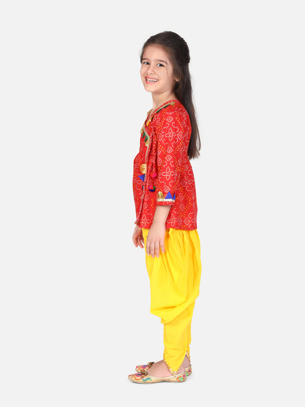 BownBee Block Print Cotton Full Sleeve Front Open Angrakha-Red