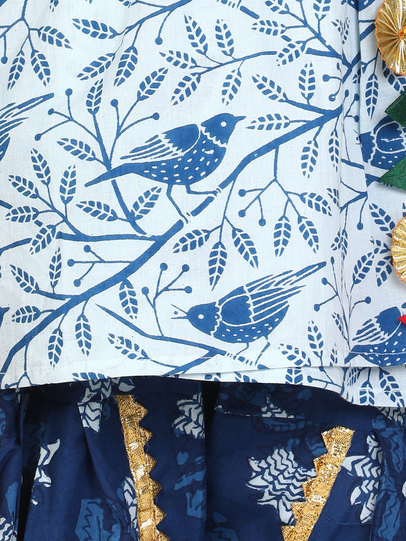 BownBee Block Print Cotton Full Sleeve Front Open Angrakha-White