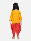 BownBee Block Print Cotton Full Sleeve Front Open Angrakha-Yellow
