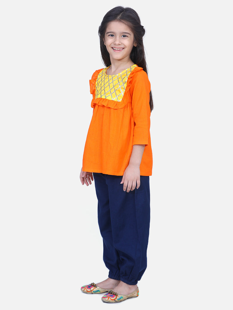 Cotton Full Sleeve Top with Harem- Orange