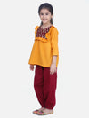 Cotton Full Sleeve Top with Harem- Yellow