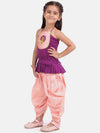 Hand Embroidered Grecian Neck Top Dhoti- Purple