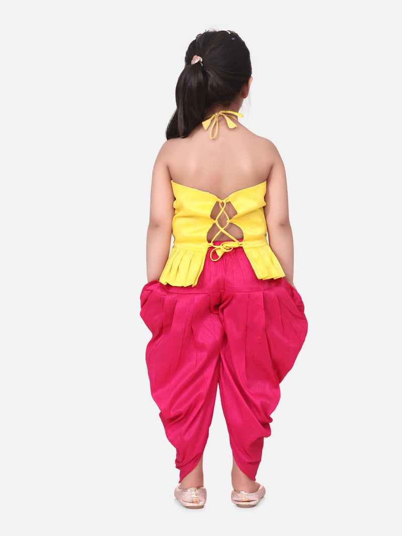 Flower Embroidered Sleeveless Top With Dhoti -Yellow