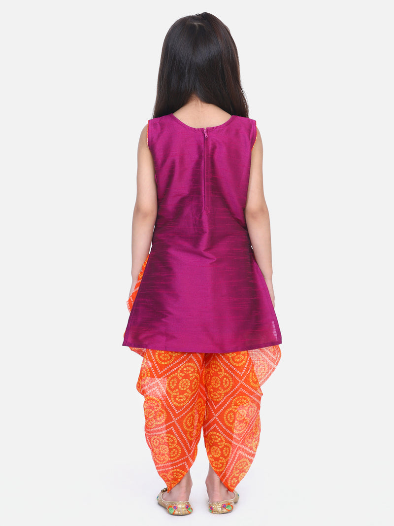 Panel Kurti Dhoti For Baby Girls- Purple