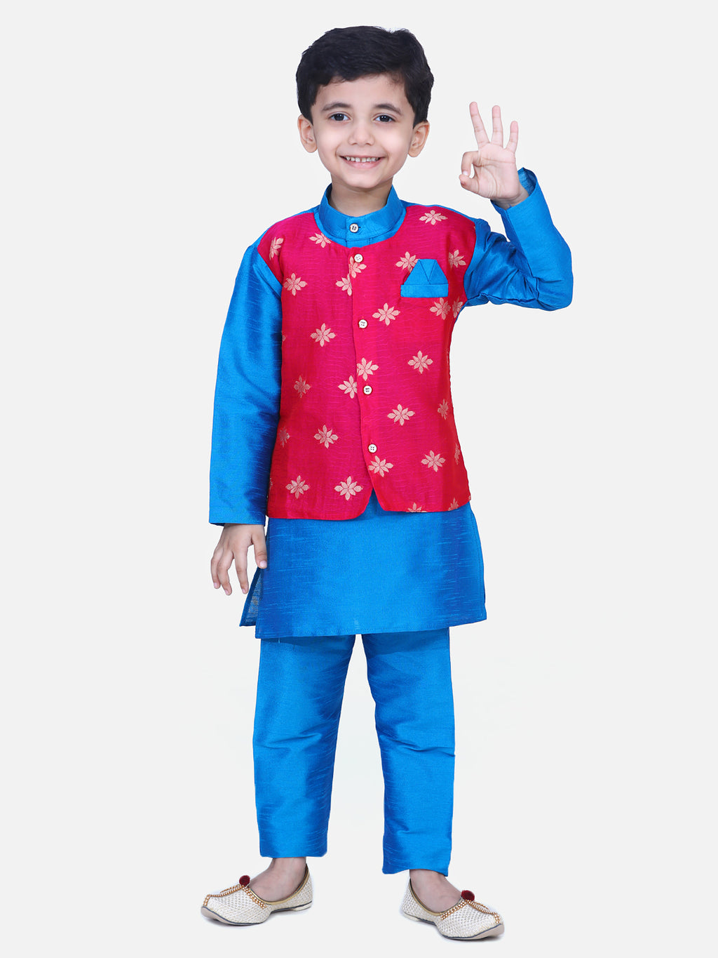 Attached Chiffon Jacket Full Sleeve Kurta Pajama- Blue