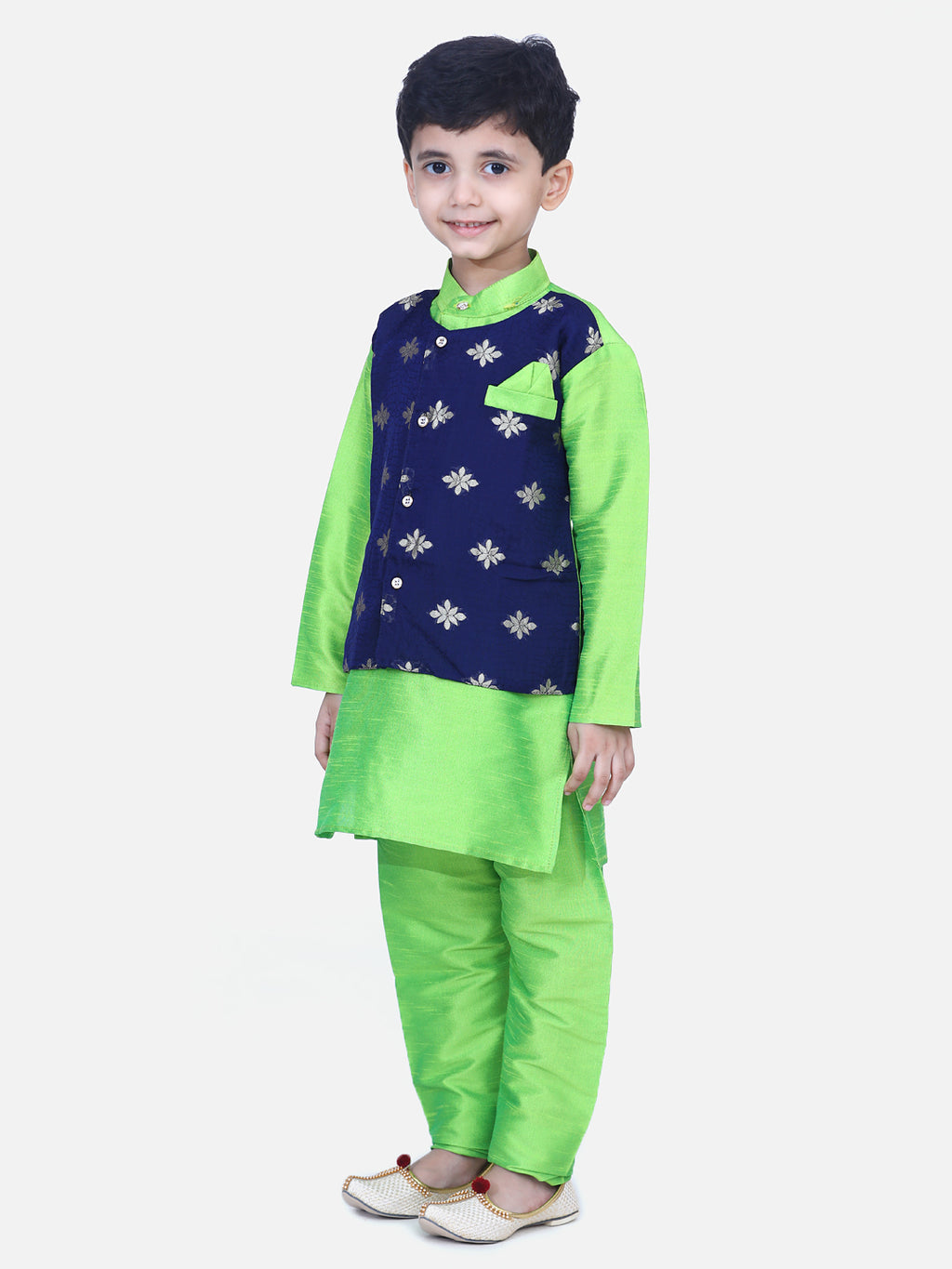 Attached Chiffon Jacket Full Sleeve Kurta Pajama- Green