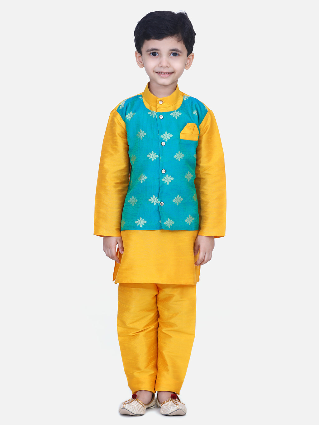 Attached Chiffon Jacket Full Sleeve Kurta Pajama- Orange