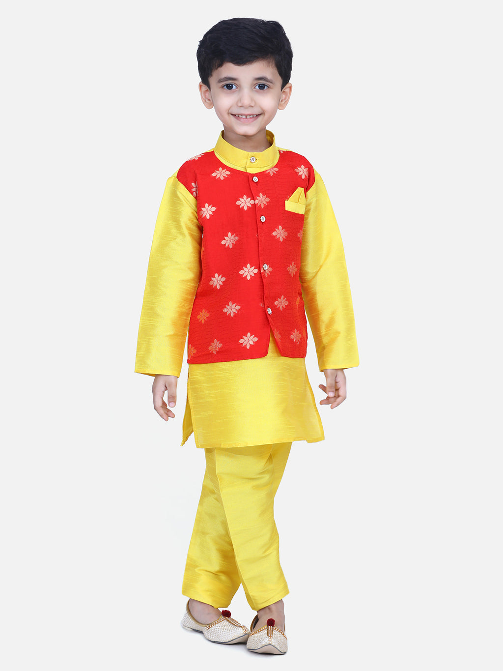 Attached Chiffon Jacket Full Sleeve Kurta Pajama- Yellow