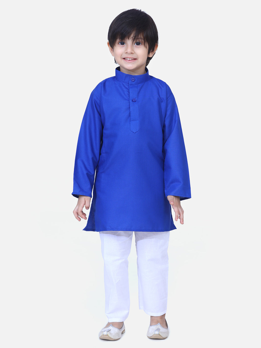 Full Sleeve Stand Collar Kurta Pajama- Blue