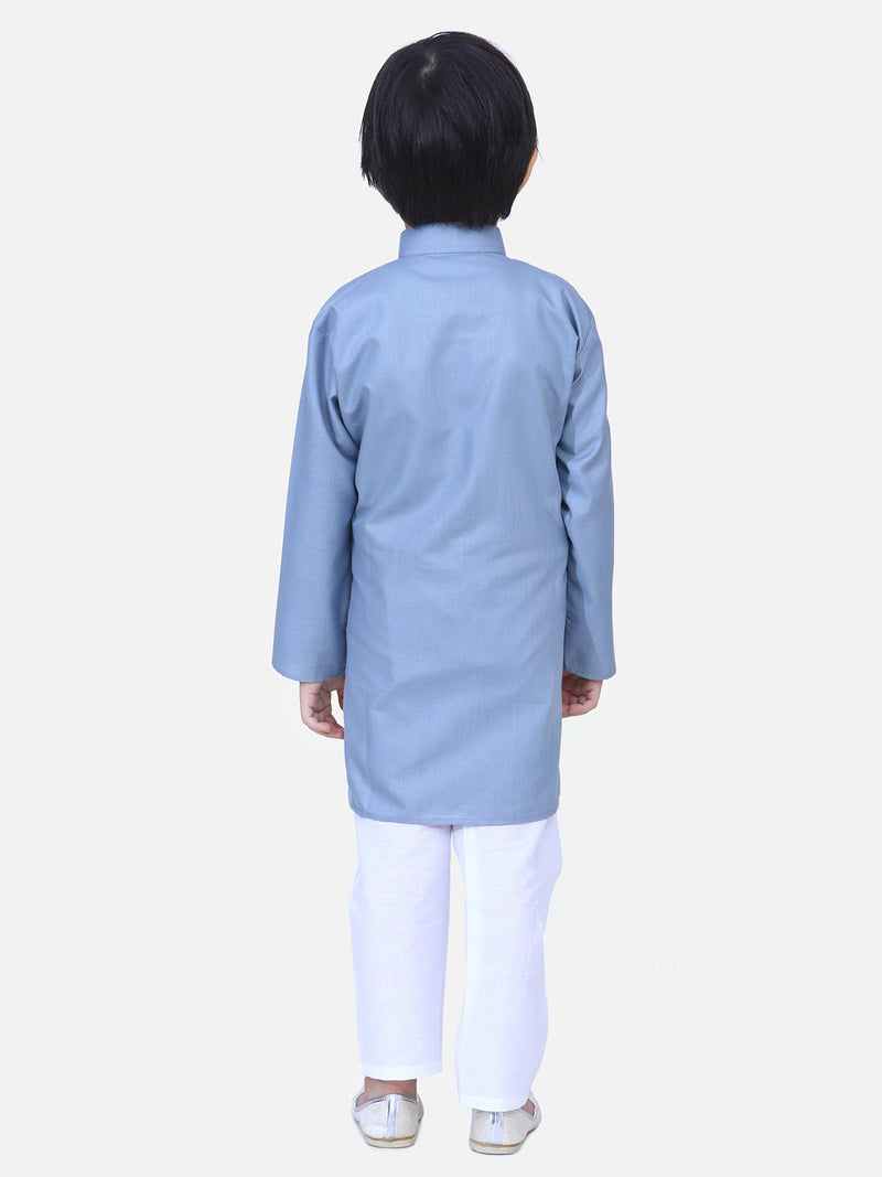Full Sleeve Stand Collar Kurta Pajama- Gray