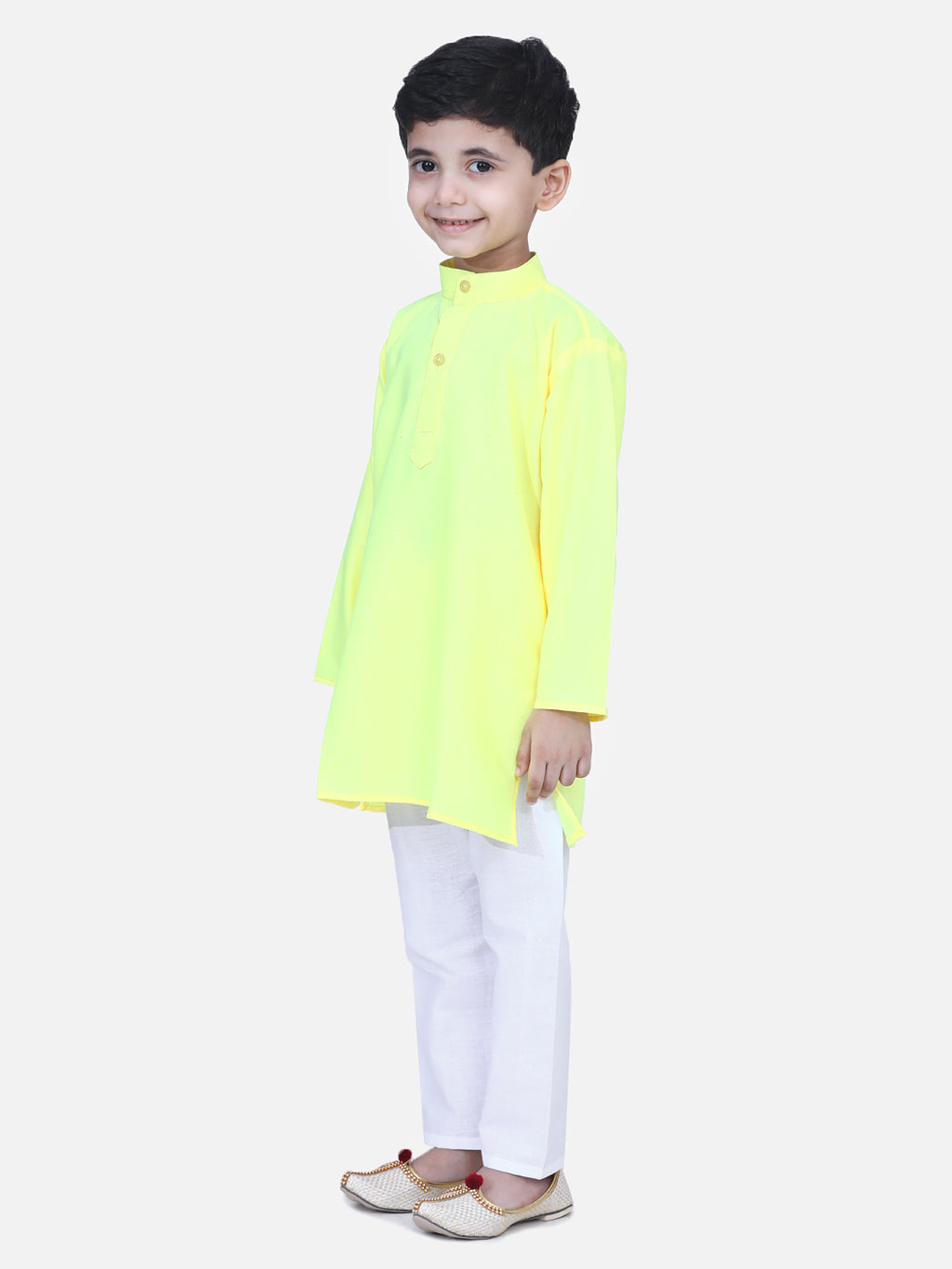 Full Sleeve Stand Collar Kurta Pajama- Yellow