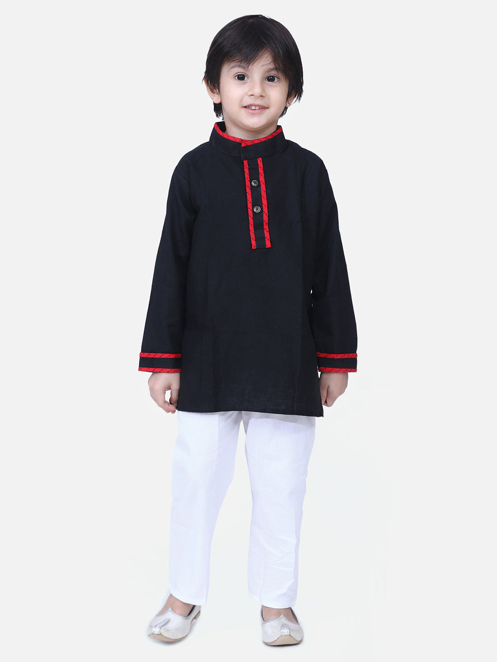 Full Sleeve Stand Collar Kurta Pajama-Black