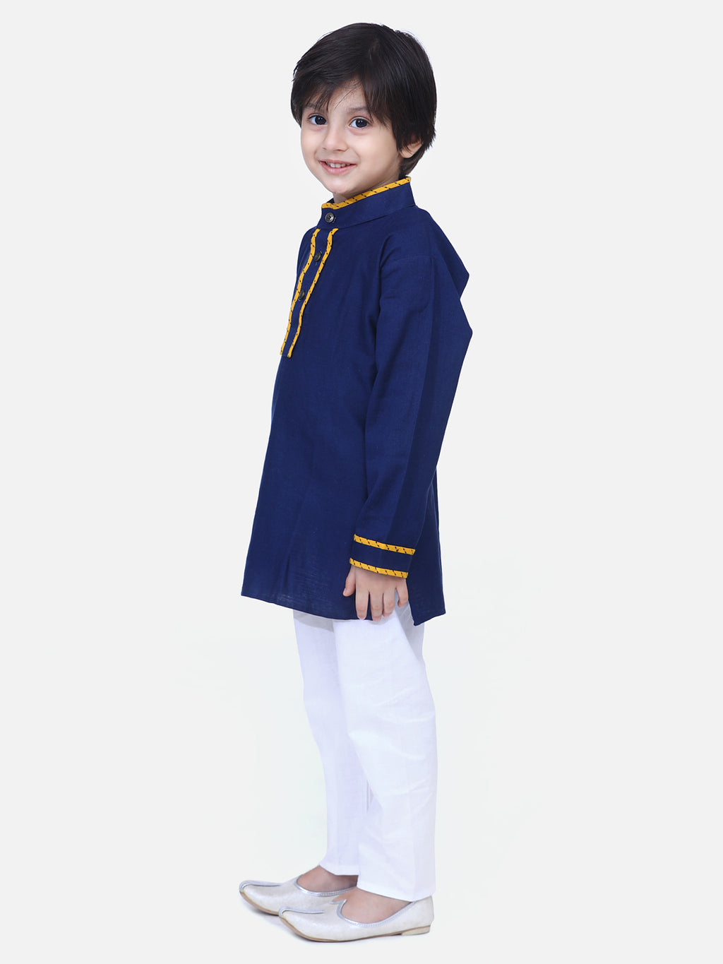 Full Sleeve Stand Collar Kurta Pajama-Blue