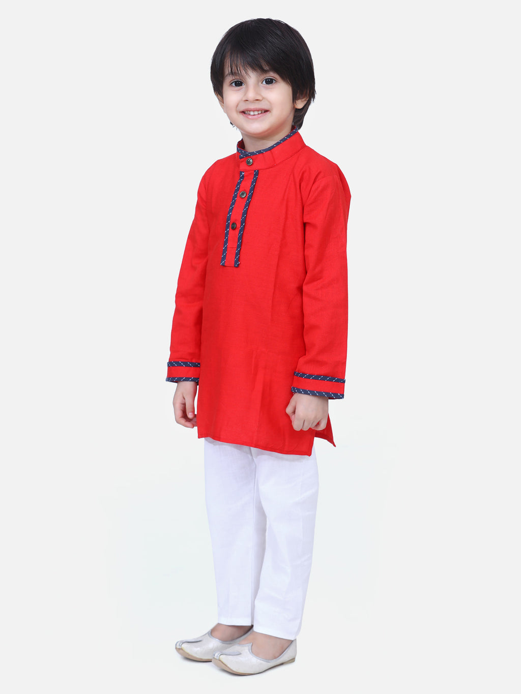 Full Sleeve Stand Collar Kurta Pajama-Red