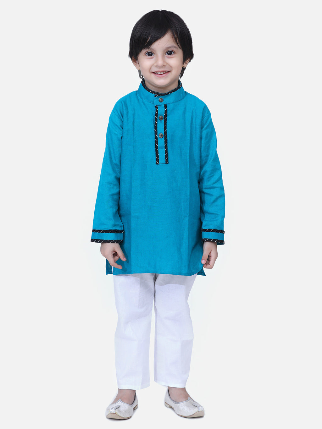 Full Sleeve Stand Collar Kurta Pajama-Teal