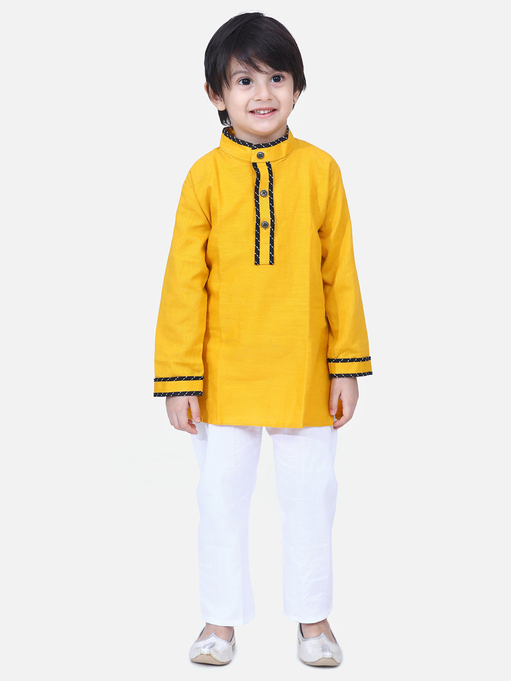 Full Sleeve Stand Collar Kurta Pajama-Yellow