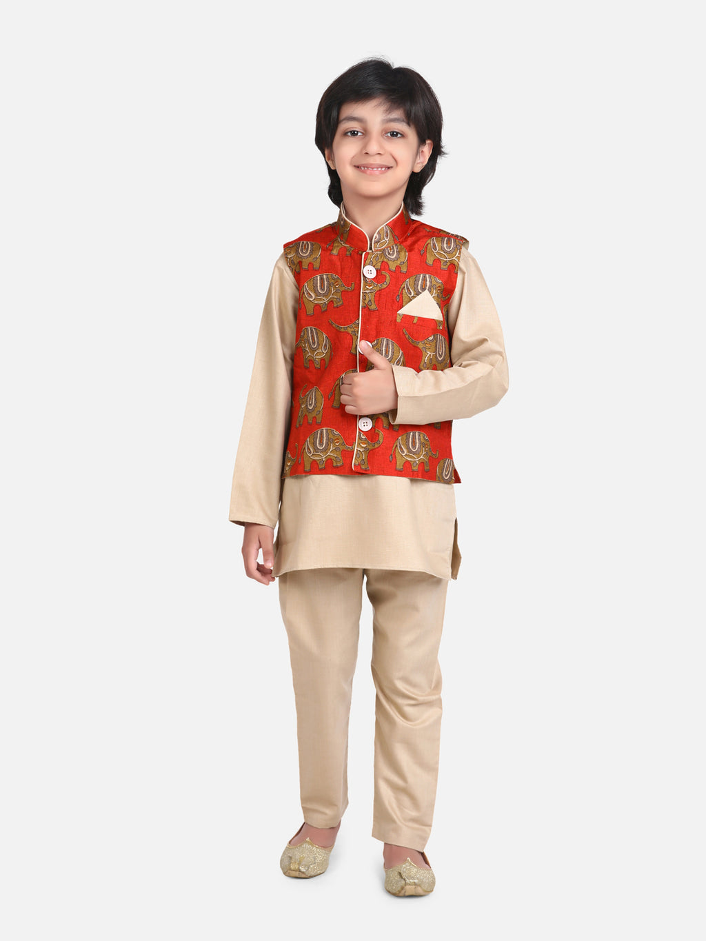 Full Sleeve Jacket Kurta Pajama for Boys- Biege