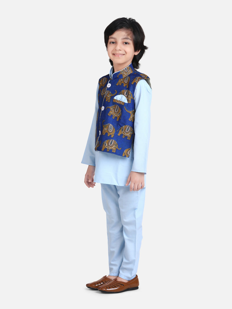 Full Sleeve Jacket Kurta Pajama for Boys- Sky Blue