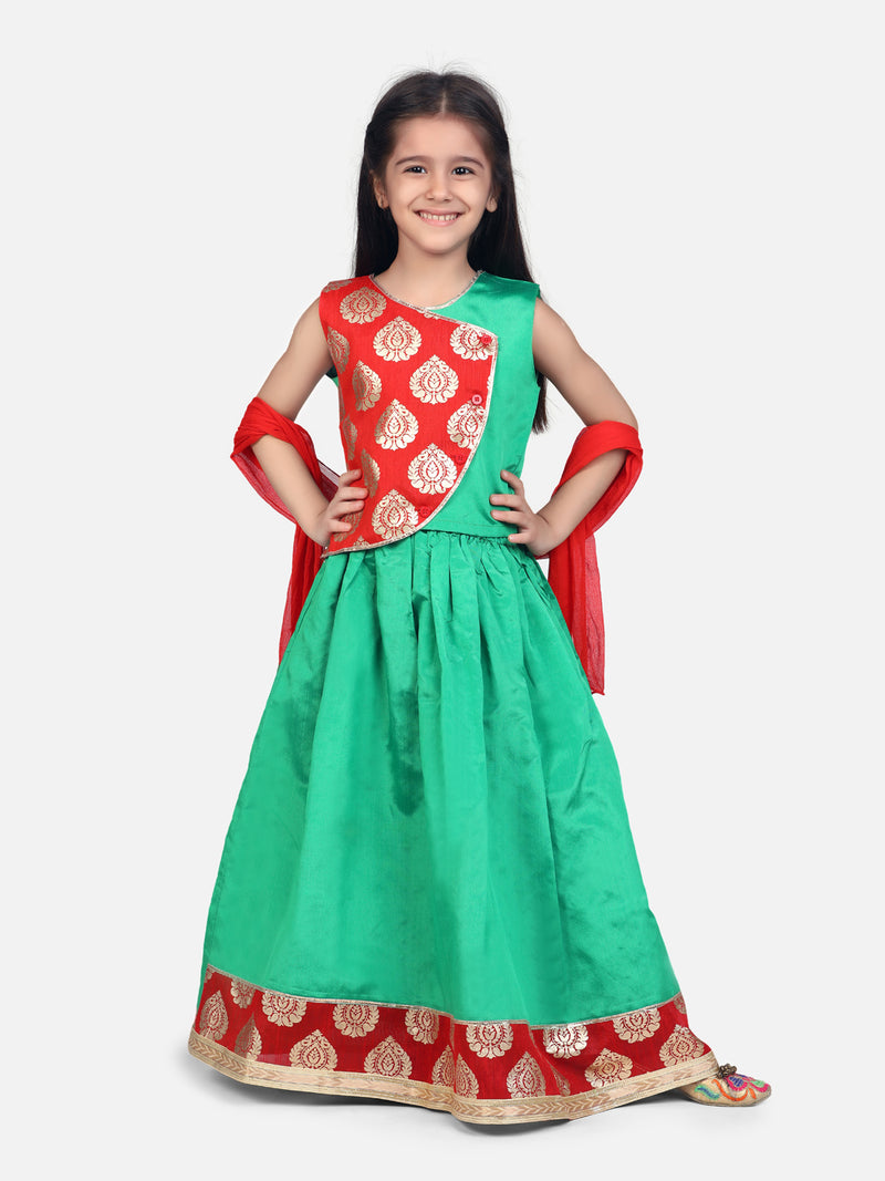 Round Panel Foil Print Lehenga- Light Green