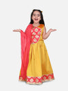 Round Panel Foil Print Lehenga- Yellow
