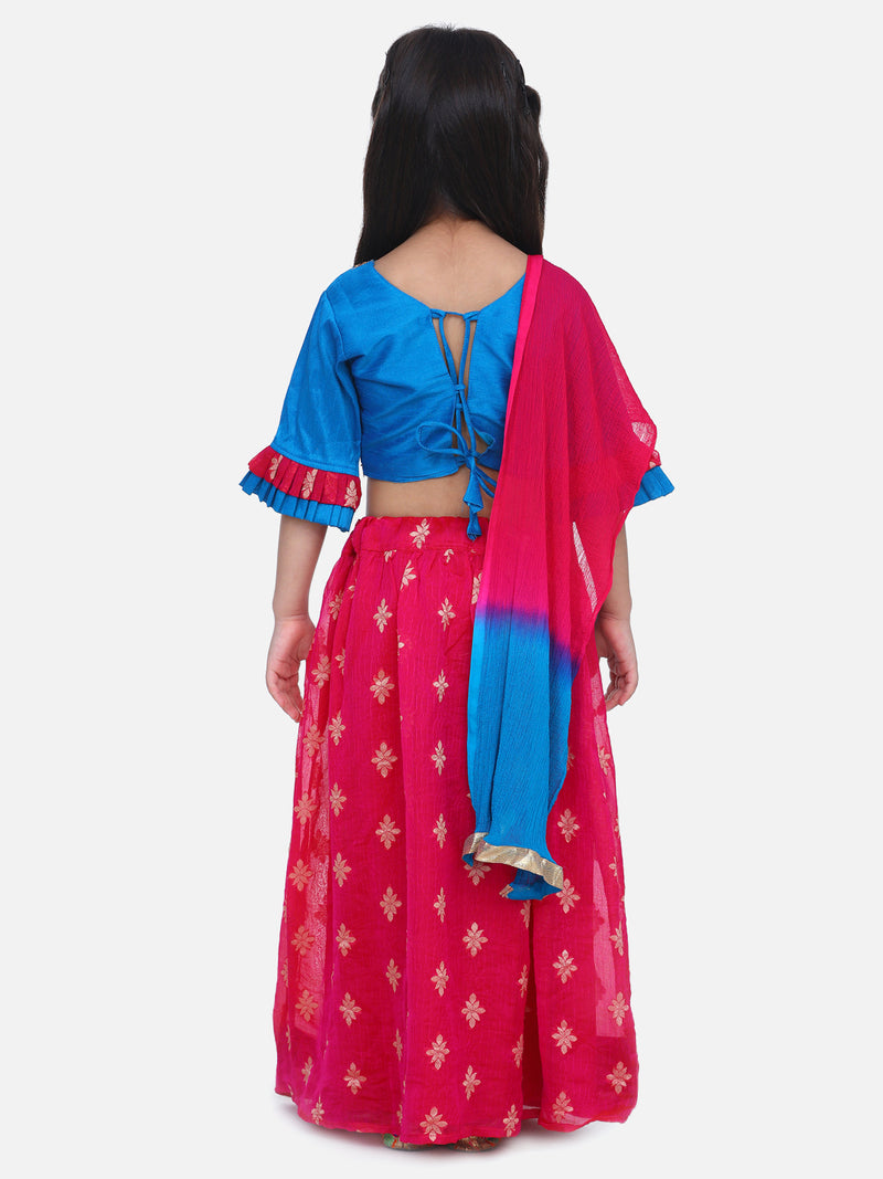 Chiffon Brocade Lehenga choli for Girls Pink-PRE ORDER